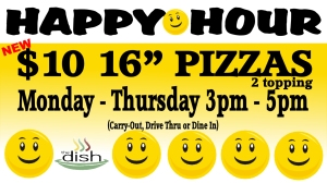 happy hour $10 pizzas